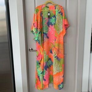 Neon tropical beach and swimsuit coverup kimono